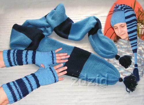 szalik, czapka i rękawiczki bez palców